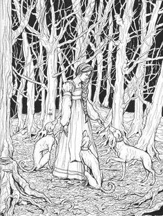 Maiden and Hounds by bluefooted.deviantart.com on @deviantART