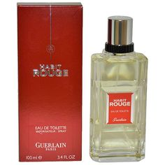 HabitRouge http://www.perfumes.com/habit-rouge-guerlain-men-3-4-oz/ Your Price: $46.90 (Retail Price: $98.00, 52% OFF) Habit Rouge is a refreshing oriental fragrance. This Perfume has a blend of fresh citrus lemon mandarin spices leather and vanilla.