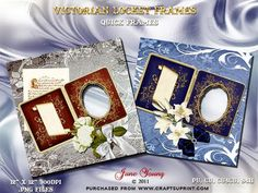 """Victorian Locket Frames on Craftsuprint designed by June Young - Two Pages using ornate Victorian Lockets and bow tied flowers. Files are300dpi 12"""" x 12"""" .png. They can be reduced in size for smaller page or used in cardmaking. - Now available for download!"""