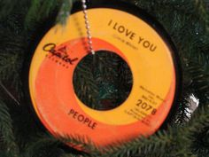 People I Love You Record Ornament by rockcycleonline on Etsy