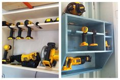 Pincomplished, mine on the right. Power tool storage cubby. Organization. Will likely add a small shelf or two on the side for drill bit boxes.