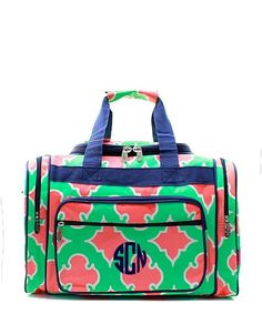 "Personalized Coral Moroccan Diamond Large 20"" Duffel Bag - Navy & Mint"