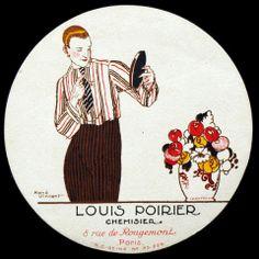 Pochoir publicitaire pour Louis Poirier, chemisier  * 8 rue de Rougemont à Paris (circa 1925) par René VINCENT