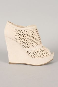 Wild Diva Lounge Medla-11 Perforated Platform Wedge Bootie......perfection