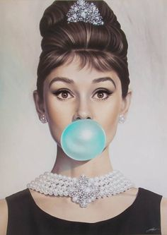 Audrey Hepburn's Tiffany Blue Blowing bubble gum bubbles Audrey Hepburn Wallpaper, Audrey Hepburn Art, Audrey Hepburn Painting, Audrey Hepburn Illustration, Moebius Artist, George Peppard, Bubble Pictures, Azul Tiffany, Tiffany Blue Bedroom