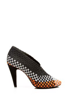 Carla Woven Elastic Pump In Optic White, Shiny Orange, And Light Grey by Alexander Wang for Preorder on Moda Operandi