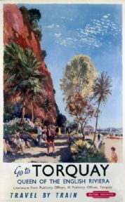 An poster sized print, approx mm) (other products available) - British Railways (Western Region) poster, Artwork by Jack Merriott. <br> - Image supplied by National Railway Museum - poster sized print mm) made in the UK British Travel, British Seaside, British Isles, Riviera Beach, Seaside Beach, Train Posters, Railway Posters, Torquay Devon, National Railway Museum