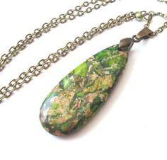 Dark Lime Green Teardrop Stone Necklace by TemporalFlux, $22.00
