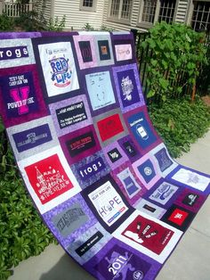 quilt made from old sorority t-shirts - love these colors though
