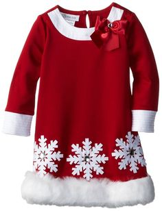 Bonnie Jean Little Girls' Scuba Santa Dress, Red, 3T