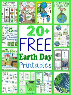 Earth 20 Free Earth Day Printables for Kids including printable packs, recycling activities, puzzles and more! - A collection of over 20 free educational Earth Day printables for kids! Recycling Activities For Kids, Recycling For Kids, Preschool Projects, Preschool Themes, Preschool Printables, Preschool Lessons, Printable Crafts, Gratis Printables, Earth Day Projects