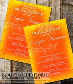 Radiant Orchid Floral Bridal Shower Invitations that are sure to be the talk of your wedding party with fancy flourish elements and classic style.