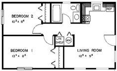 Floor plan for 540 square feet (washer/dryer/linen closet)