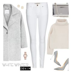 """winter white denim"" by maria-maldonado ❤ liked on Polyvore featuring MANGO, Burberry, Rochas, Jimmy Choo, Kendra Scott, Marc by Marc Jacobs and winterwhite"