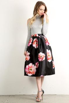 Floral Print High Waisted A-Line Skirt-8