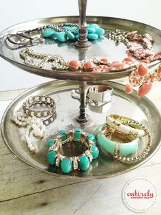 Use a tiered stand to display jewelry
