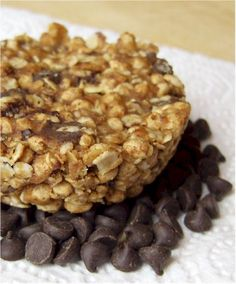 No bake Chocolate Chip Flax and Oats bar. Add favorite protein powder to boost protein amount.