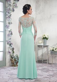 Chiffon A-line Mother of the Bride Dresses Scoop Long Sleeves Zipper with Buttons Back Floor Length Pleats Mother's Dress Formal Gowns Long Sleeve Evening Gowns, Formal Evening Dresses, Formal Gowns, Dress Formal, Mother Of Groom Dresses, Mothers Dresses, Mother Of The Bride, Trendy Dresses, Nice Dresses