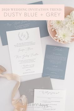 Dusty Blue and Grey mix and match letterpress wedding invitations featuring a classic monogram. Perfect for a wedding of any season. Get started by ordering a sample now!