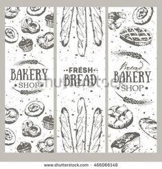 Bakery vertical vintage banners. Vector illustration. Bread Bar, Bread Shop, Bakery Packaging, Packaging Design, Bakery Shop Design, Cake Story, Small Bakery, Vintage Banner, Pastry Shop