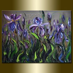 Original Textured Palette Knife Iris Oil Painting by willsonart, $135.00