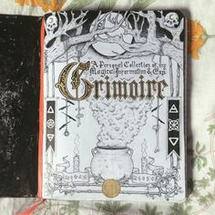 """stormbornwitch: """"hadeswitch: """"My grimoire title page + details ft. a cauldron, some candles, skulls, some witches' ladders, and more! Took me days of work but it was well worth the. Bullet Journal Books, Bullet Journal Ideas Pages, Bullet Journal Inspiration, Wicca Witchcraft, Wiccan, Magick, Tarot, Grimoire Book, Baby Witch"""