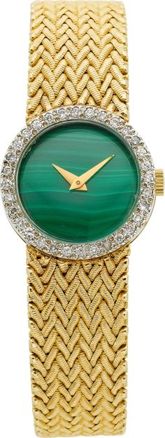 Watches, Swiss Ladys Malachite, Diamond, Gold Wristwatch #TuscanyAgriturismoGiratola