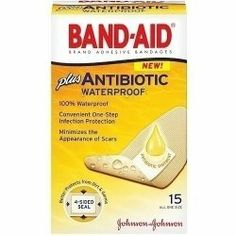 Band-Aid Antibiotic Waterproof Adhesive Bandages-15ct by Band-Aid. $4.00. minimize the Appearance. Bandages with Antibiotic.. Antibiotic Waterproof. Adhesive Bandages. Band Aid Plus Antibiotic Waterproof Adhesive Bandages * Band-Aid Adhesive Bandages with Antibiotic. * 100% Waterproof. * Convenient One-Step Infection Protection. * Minimize the Appearance of Scars. * No-Mess Application. * Heals Wounds Faster That With an Ordinary Bandage.