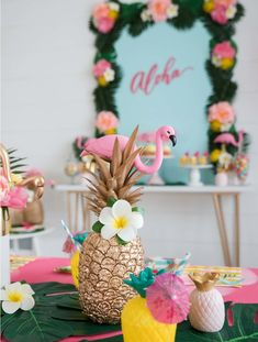 and flamingo centerpiece idea from a Tropical pineapple flamingle party with Oriental Trading Company. Flamingo Party, Flamingo Baby Shower, Flamingo Birthday, Luau Birthday, Birthday Ideas, Aloha Party, Hawaiian Luau Party, Dessert Party, Pool Party Centerpieces
