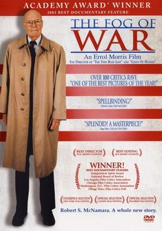 """""""The Fog of War: Eleven Lessons from the Life of Robert S. McNamara"""" Directed by Errol Morris. Robert Mcnamara, The Fog Of War, Academy Award Winners, Academy Awards, Best Documentaries, Best Director, Tv Shows Online, Documentary Film, Vietnam War"""