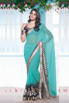 Blue Color Georgette Designer Saree