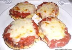 Chicken Parmigiana (chicken cakes, pasta sauce & cheese) great idea!