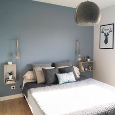 28 Ideas For Bedroom Colors Orange Gray Bedroom Color Schemes, Bedroom Colors, Home Decor Bedroom, Bedroom Ideas, Blue Gray Bedroom, New Room, Interior Design, Virée Shopping, Organic Gardening