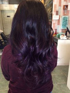 Dark purple ombré and balayage techniques
