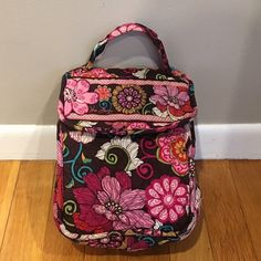 "Vera Bradley ""Out to Lunch"" Tote Mod Floral Pink Retired pattern, used condition. Inside of lunch tote is fully lined. Small hole in bottom right, back corner. This bag still looks great and has lots of life left! (Ask for more pics, if needed!) No trades! Vera Bradley Bags"