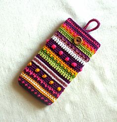 Unique colorful crochet phone cover Smart phone case Rainbow colored phone case pouch iphone 7 case Crochet cell phone case ANY SIZE Crochet Laptop Case, Crochet Phone Cover, Crochet Pouch, Mobiles En Crochet, Crochet Mobile, Unique Crochet, Diy Crochet, Crochet Ideas, Cell Phone Pouch