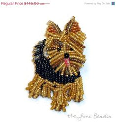 #YORKIE Yorkshire Terrier dog beaded canine art pin pendant (ready to ship) #etsy #dogs