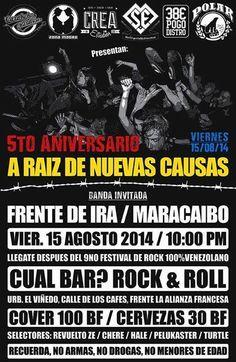 Cresta Metálica Producciones » 5to aniversario de A Raiz de Nuevas Causas junto a Frente de Ira en Cual Bar?