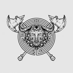 The Minotaur, Hand Drawn Logo, Mythical Creatures Art, Tattoo Sketches, Logos, Design Elements, Vector Free, How To Draw Hands, Geek Stuff