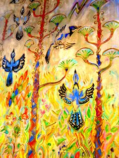 Spring with Blue Birds - wall murals by Walter Anderson - Community Center - Ocean city Community Center - Mississippi - photo taken by Sandy Robert