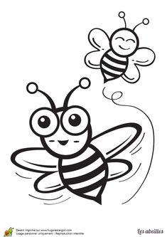 Coloriage d 39 un dessin d 39 une abeille en train de butiner - Abeille coloriage ...