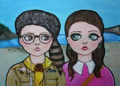 Moonrise Kingdom, Sam and Suzy Acrylic Painting, Pop Art, Big Eyes by DollFacesArt on Etsy