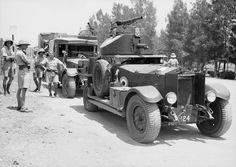 RAF Rolls Royce Armoured Car followed by a Rolls Royce Silver Ghost Armoured Tender. Palestine - circa 1938