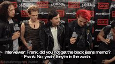 """i love how they all looks down at frank like """"oh yeah, his jeans aren't emo enough"""""""