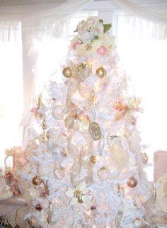 Olivia's Romantic Home: Shabby Chic White Christmas Tree
