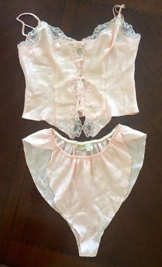 Vintage Victorias Secret Peachy Pink Camisole Top And High Waist Panties size M #VictoriasSecret