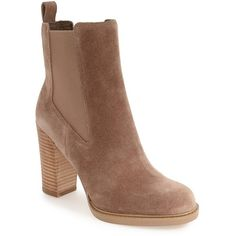 Women's Marc Fisher Ltd 'Harley' Chelsea Boot ($114) ❤ liked on Polyvore featuring shoes, boots, ankle booties, ankle boots, tan suede, chelsea boots, chelsea bootie, suede chelsea boots and suede booties