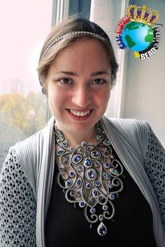 """Alla Maslenikova wearing her 2012 first place Battle of the Beadsmith necklace, """"Baroque""""."""