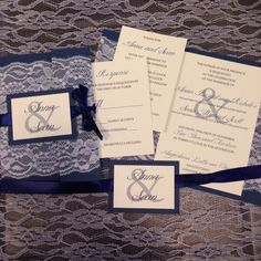 Anna & Sean's Perfectly Mismatched Vintage Wedding. Lace wedding invitation suite.