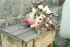 Rustic wedding bouquet with lotus